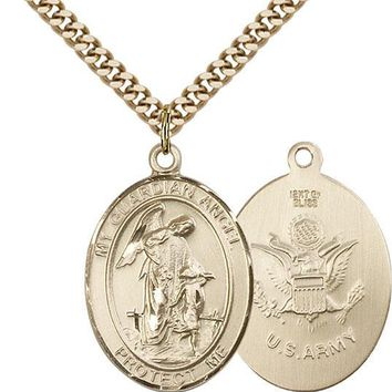 14K Gold Filled Guardian Angel Army Military Soldier Catholic Medal Necklace 617759453706