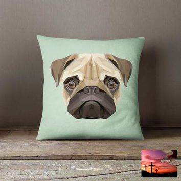 Geometric Pug Turquoise Decorative Throw Pillow