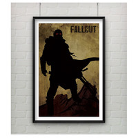 Fallout Inspired Poster 11x17 Video Game Art Inspired Minimalist Print, Silhouette Art, Video Game Poster, Fallout Inspired Print