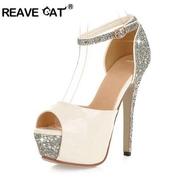 REAVE CAT High quality Glittering Size 34-43 Sexy High Heels Platform Shoes Pumps Wome