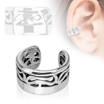 Tribal Design Rhodium Plated Brass Non Piercing WildKlass Ear Cuff (Sold by Piece)