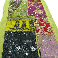 Green Expensive Heavy Beads Hand Embroidered Patchwork Tapestry Runner