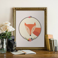 Instant Woodland Fox Fun Art Print 8x10 Wall Art Printable File Typography Digital Print Nursery Art