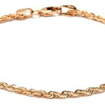 "10k Fine Gold Solid Diamond Cut Rope Chain Bracelet and Anklet for Men & Women, 2.5mm (0.1"")"