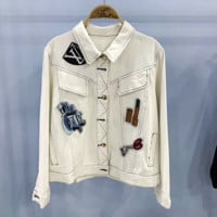 LV: Women Denim Cardigan Jacket Coat