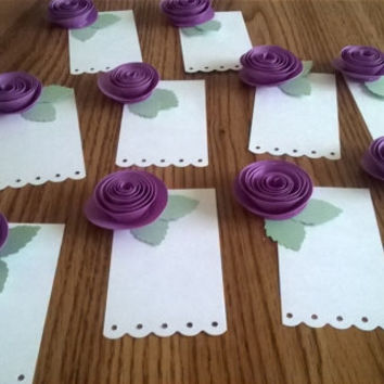 White & Purple Roses Set of 10 scalloped Wishing tree tags guest book alternative wedding Reception Bridal Shower Decor paper Flower rosette