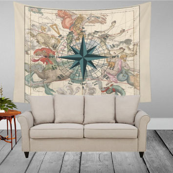 Wall Tapestry - Pictorial Map with Compass - Home Decor, Wall, Warming Gift, Symmetry, Bohemian, Boho, Ancient, Constelation, Space, Zodiacs