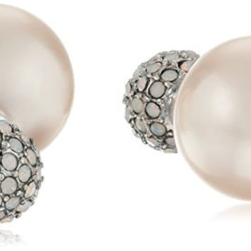 """Betsey Johnson """"Boat House"""" Pave Round Bead and Pearl Earrings Jackets"""