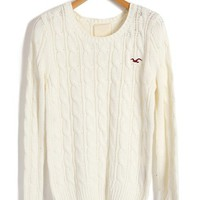 Cable Knit White Sweaters with Embroidered Bird