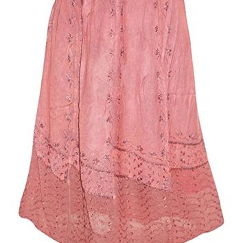 Womens Skirt Stonewashed Pink Embroidered Midi Skirts S/M