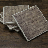 Sheet Music Tile Coasters - Drink Coasters - Set of 4