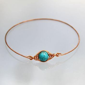 Copper turquoise Bangle Bracelet Custom Jewelry Handmade Hand Stamped Freeshipping Handmade Anni Designs Personalized