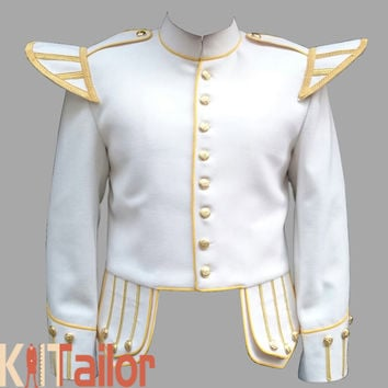 WHITE DOUBLET JACKET GOLDEN TRIM CUSTOM MADE