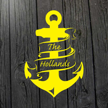 Anchor decal Family decal Nautical decal Family name decal Anchor wall art Nursery decal Nautical nursery decal Nautical car decal