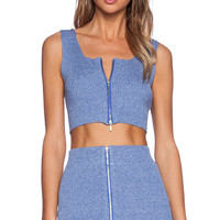 J.O.A. Front Zip Crop Top in Blue