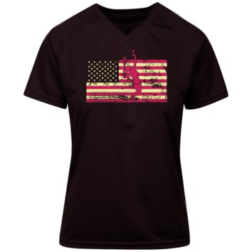Female Tennis Player Silhouette On The American Flag Ladies Holloway Zoom Shirt
