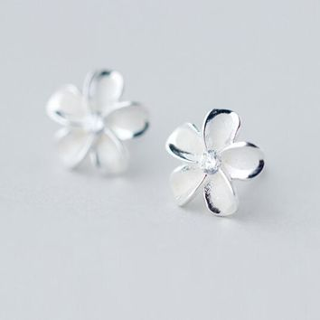 Real. 925 Sterling Silver Jewelry White Enamel Daisy Flower Hibiscus Plumeria Hawaii Stud earrings 10mm GTLE1082