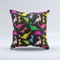 Vector Neon Dinosaur Ink-Fuzed Decorative Throw Pillow