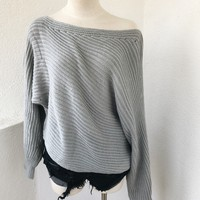 CEREN OFF SHOULDER SWEATER- GREY