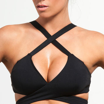 Black Criss Cross Sports Bra