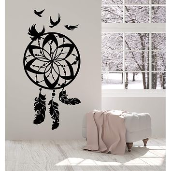 Vinyl Wall Decal Beautiful Dreamcatcher Protective Amulet Bird Feathers Stickers Unique Gift (2046ig)