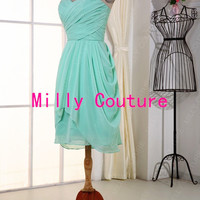 Mint short bridesmaid dress, bridesmaid dress chiffon, Cheap Prom Dresses, Hot Prom Dresses, Homecoming Dresses, Wedding Party Dresses