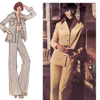 1970s Chuck Howard Jacket & Pants Vintage Sewing Pattern Vogue Americana 2892 Size 12 Bust 34 inches UNCUT