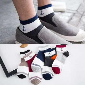 10 pieces = 5 pairs Men socks Japanese autumn new navy style anchor  man socks ankle socks