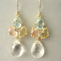 Pastel, Green, Yellow, Pink Glass And Clear Quartz Earrings | Luulla