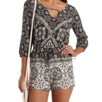 Ivory Combo Strappy Medallion Print Romper by Charlotte Russe