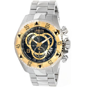 Invicta 11003 Men's Reserve Excursion Gold Tone Bezel Black Textured Dial Stainless Steel Chronograph Dive Watch