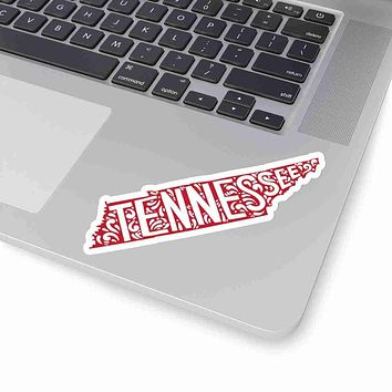 Tennessee State Shape Sticker Decal - Red