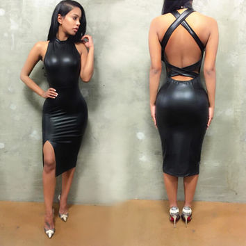 Black Backless Bodycon Mini Dress