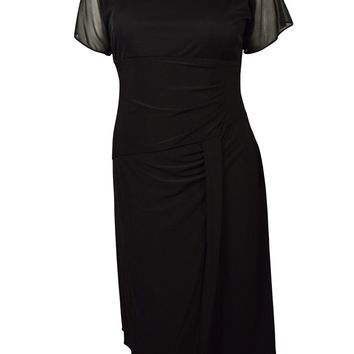Alex Evenings Women's Embellished Neck Draped Jersey Dress