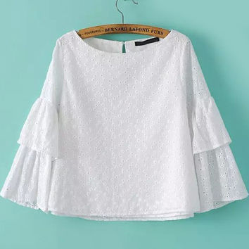 White Embroidered Ruffled Sleeve Cropped Blouse