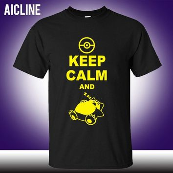 new Fashion Classic Style Keep Calm And Carry On Snorlax Sleep On  T Shirt Casual Music Rock N Roll Band T ShirtKawaii Pokemon go  AT_89_9