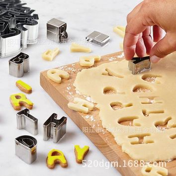 26 Pieces/set Stainless Steel Letter / Alphabet  Cookie Cutter Biscuit Cutters Baking Accessories