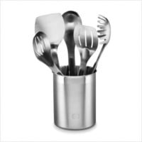 Calphalon Stainless Utensils Spoon, Slotted Spoon, Large Turner, Small Slotted Turner, Pasta Fork, Stainless Crock