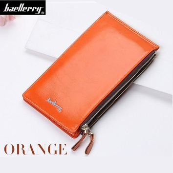 Slim Long Oil Wax Double Zipper Women Wallets Female Clutch Bag Ladies Coin Money Women's Purse Cuzdan Wristlet Walet Cartera