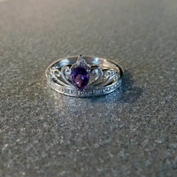 Teardrop Genuine Amethyst and Diamond Sterling Silver Princess Crown Ring