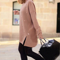 Pearl Long Knitted Pullover Sweater