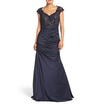 La Femme Women's Navy Embellished Lace & Satin Mermaid Gown