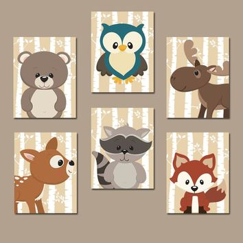 WOODLAND Nursery Wall Art, Woodland Nursery Decor, Woodland Baby Shower Decor, Birch Wood Forest Animals, Canvas or Prints, Set of 6