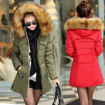 Fashion Women's cotton-padded jacket winter down cotton plus size jacket female slim ladies dark green jackets and coats size:L-4XL = 1958676868