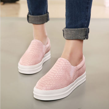 Round Toe Black Pink Comfort Loafer Casual Flats