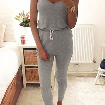 Vest Sexy Casual Sleeveless Women's Fashion Jumpsuit [9548157967]