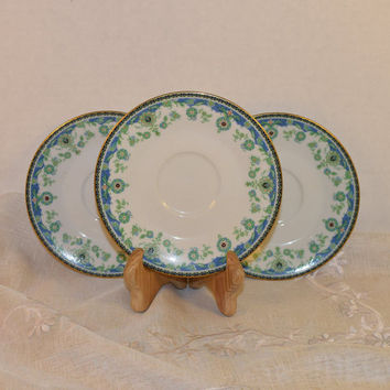 Noritake Persia 2403 3 Saucers Vintage Saucer Set of 3 Blue Green Hard to Find 1970s Noritake Replacement Discontinued China Afternoon Tea