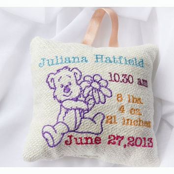 Personalised birth Announcement Pillow, New Baby Pillow , New born Pillow Custom embroidery , Little bear  Baby Pillow