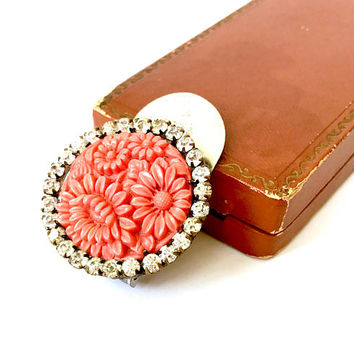 Art Deco Dress Clip, Coral, Carved Floral, Molded Glass, Rhinestones, Silver Plated, Antique 1930s, Fur Clip, Vintage Jewelry