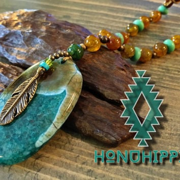 Boho Hippie necklace , native american feather tribal jewelry